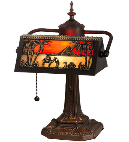 "15.5""H Camel Mission  Arts & Crafts Banker's Desk Lamp"