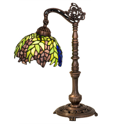 "19""H Tiffany Honey Locust Floral Bridge Arm Desk Lamp"