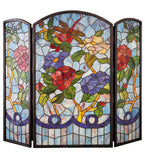 "40""W X 34""H Dragonfly Flower Folding Stained Glass Fireplace Screen"