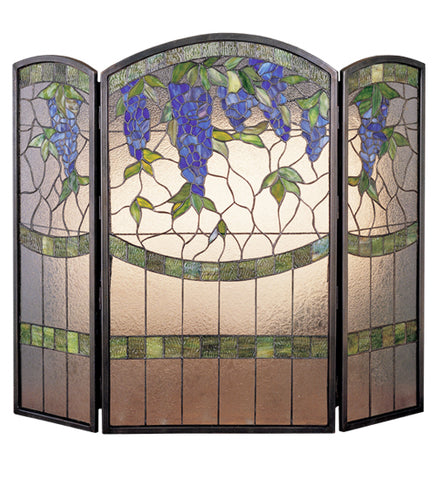 "40""W X 34""H Wisteria Stained Glass Folding Fireplace Screen"