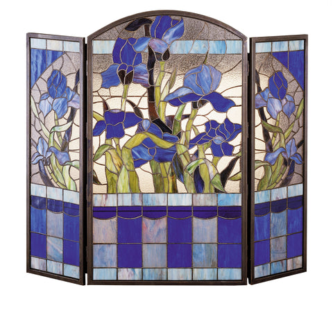 "40""W X 34""H Iris Stained Glass Folding Fireplace Screen"