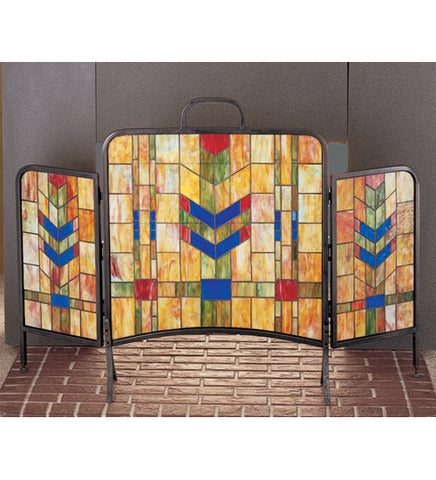 "48""W X 31""H Prairie Wheat Folding Stained Glass Fireplace Screen"