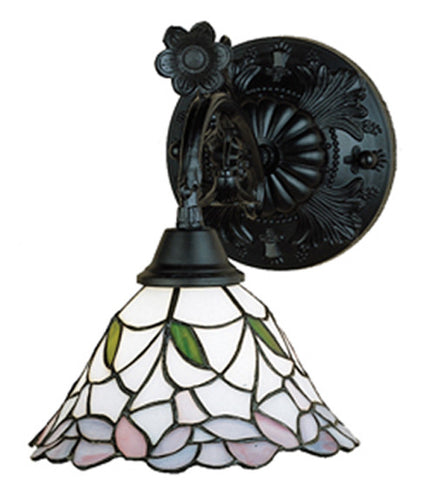 "9""W Daffodil Bell Floral Stained Glass Wall Sconce"