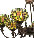 "32""W Jeweled Basket 6 Lt Stained Glass Chandelier"