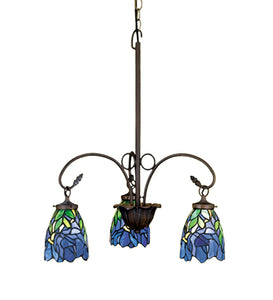 "24""W Stained Glass Iris 3 Lt Chandelier"