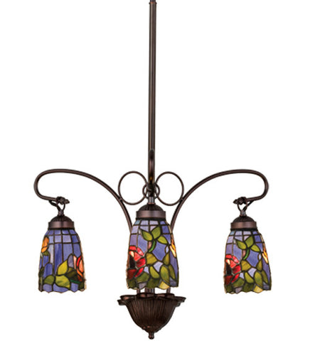 "23""W Tiffany Rosebush 3 Lt Stained Glass Chandelier"