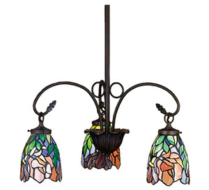 "21""W Tiffany Iris 3 Lt Chandelier"