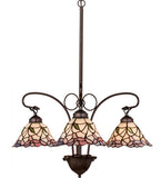 "25""W Stained Glass Daffodil Bell 3 Lt Chandelier"