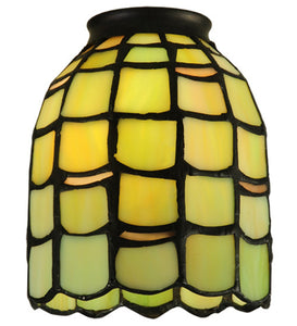 "4""W Tiffany Maiss Stained Glass Fan Light Shade"