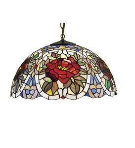 "20""W Renaissance Rose Stained Glass Pendant"