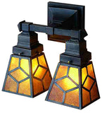 "12""W Amber Mica Diamond Mission 2 Lt Wall Sconce"