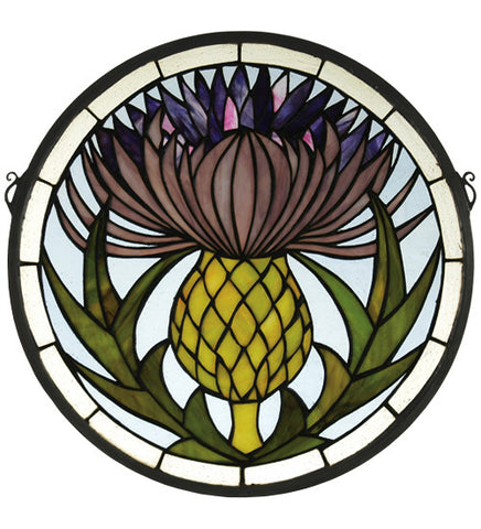 "17""W X 17""H Thistle Medallion Floral Stained Glass Window"