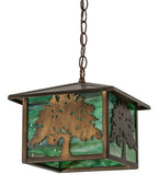 "12""Sq Oak Tree Lantern Outdoor Pendant"