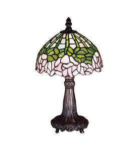 "13""H Cabbage Rose Tiffany Floral Table Lamp"