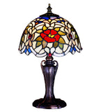 "13""H Renaissance Rose Tiffany Floral Mini Table Lamp"