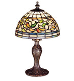"13.5""H Turning Leaf Stained Glass Table Lamp"