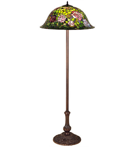 "63""H Tiffany Rosebush Floral Stained Glass Floor Lamp"