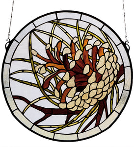 "17""W X 17""H Pinecone Medallion Stained Glass Window"