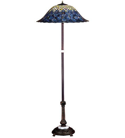 "60""H Tiffany Peacock Feather Floor Lamp"