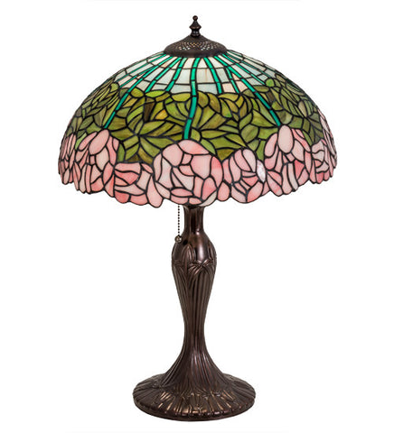 "23""H  Stained Glass Cabbage Rose Table Lamp"