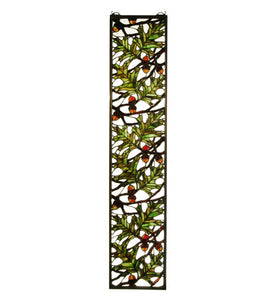 "9""W X 42""H Acorn & Oak Leaf Lodge Sidelight Stained Glass Window"