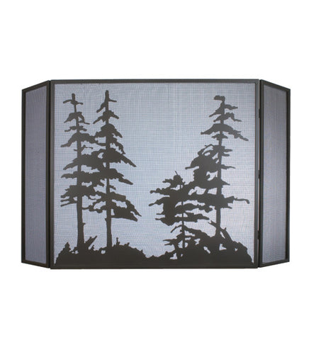 "68""W X 39""H Tall Pines Metal Folding Fireplace Screen"