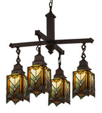 "27""W Cottage Mission 4 Lt Tiffany Gothic Chandelier"