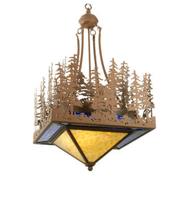 "20""Sq Pine Lake Rustic Lodge Inverted Pendant"