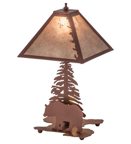 "21""H Leafs Edge Lodge W/Lighted Base Table Lamp"