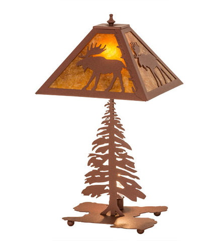 "21""H Lone Moose Tall Pines Wildlife Table Lamp"