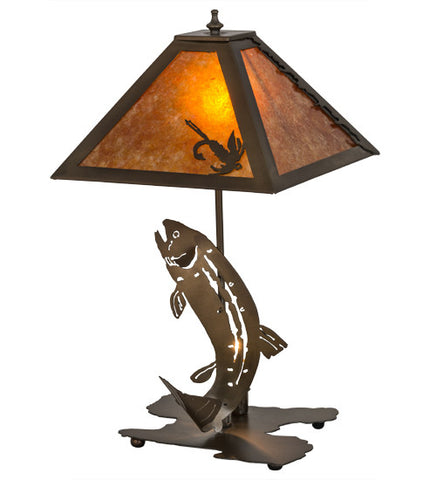 "21""H Leaping Trout Wildlife Table Lamp"