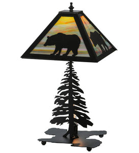 "21.5""H Lone Bear W/Lighted Base Wildlife Table Lamp"