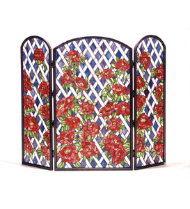 "40""W X 34""H Rose Trellis Stained Glass Folding Fireplace Screen"