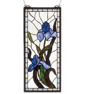 "9""W X 20""H Iris Stained Glass Window-"