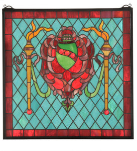 "20""W X 20""H Victorian Shield/Twin Torch Stained Glass Window"
