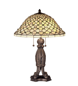 "24""H Diamond and Jewel Tiffany Table Lamp"