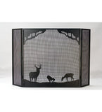 "62""W X 40""H Deer At Dawn Folding Fireplace Screen"