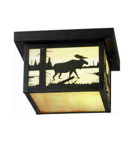 "10""Sq Hyde Park Moose Outdoor Flushmount"