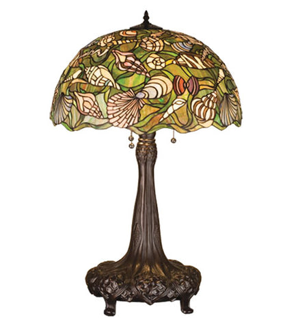 "31""H Seashell Coastal Stained Glass Table Lamp"