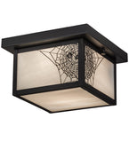 "10""Sq Hyde Park Spider Web Outdoor Flushmount"