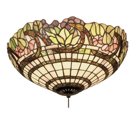"15""W Handel Stained Glass Grapevine Flushmount"