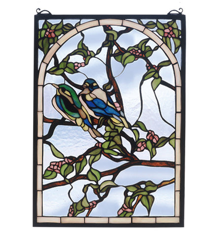 "14""W X 20""H Lovebirds Stained Glass Window"