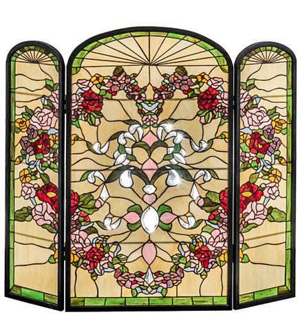 "40""W X 34""H Heart Folding Stained Glass Fireplace Screen"