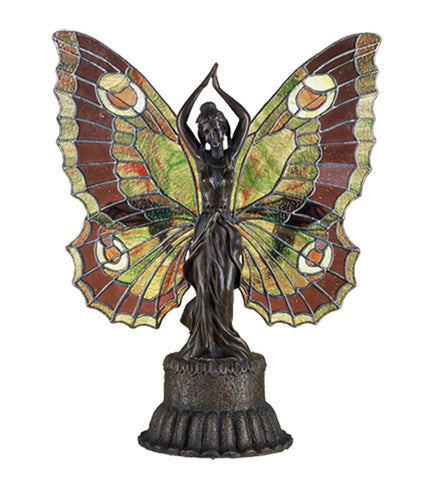 "17""H Butterfly Lady Stained Glass Accent Lamp"