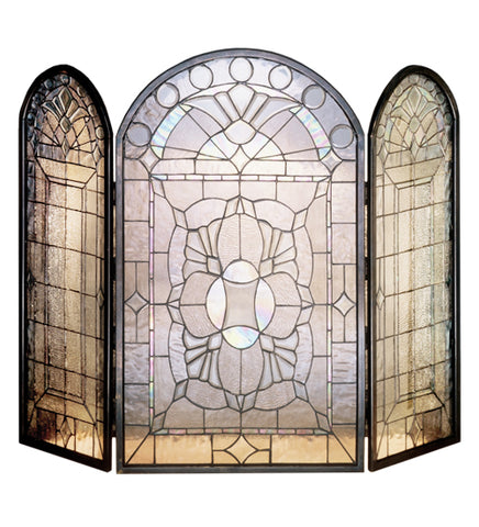 "40""W X 34""H Beveled Glass Clear Folding Tiffany Fireplace Screen"