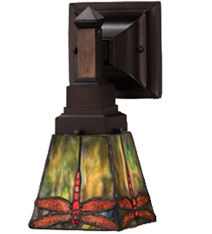 "5""W Prairie Dragonfly Tiffany Vanity Wall Sconce"