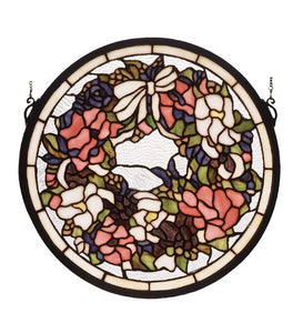 "15""W X 15""H Revival Wreath & Garland Medallion Stained Glass Window"