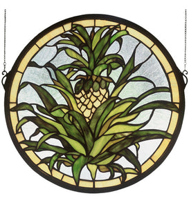 "16""W X 16""H Welcome Pineapple Medallion Stained Glass Window"