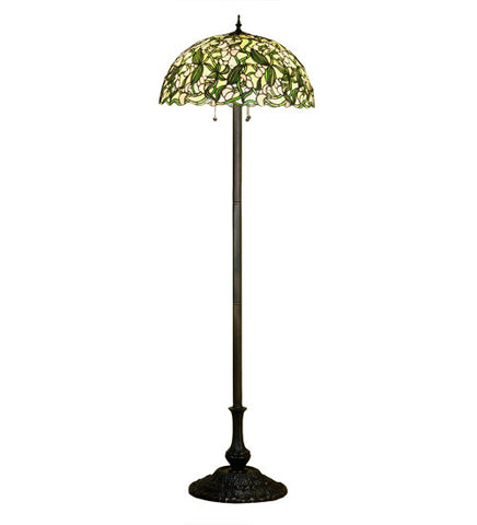 "63""H Stained Glass Sweet Pea Floor Lamp"