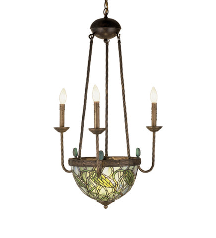 "22""W Lotus Bud Tiffany 3 Arm Inverted Chandelier"